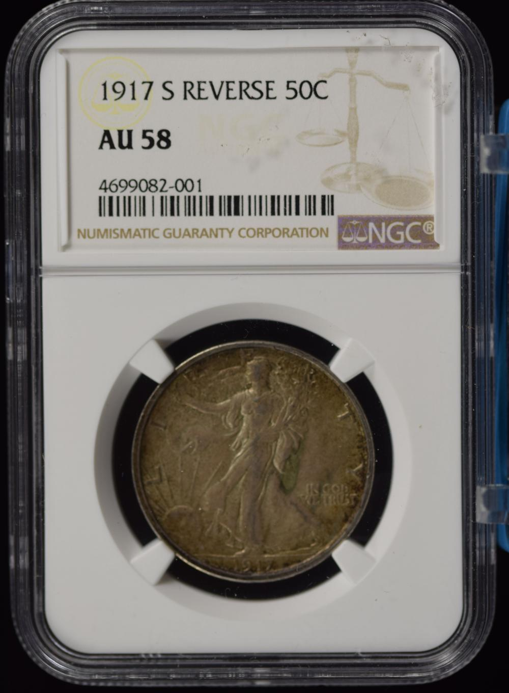 1917-S Reverse Walking Half Dollar NGC AU-58 Toned
