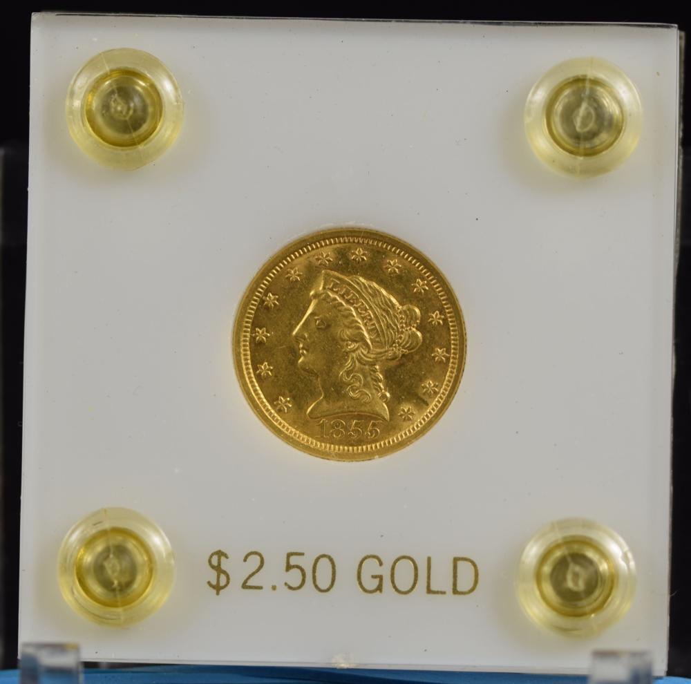 1855 $2.5 Gold Liberty Scarce Early Date MS60 Plus