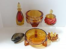 Six Pieces Amber Art Glass