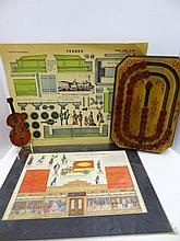 Two French Prints, German Noisemaker, Alphabet Board