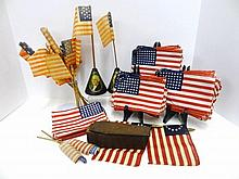 George Washington  Bi-Centennial Flag holder with vintage flags 1732-1932