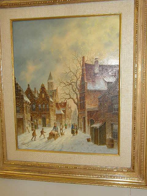 A FRAMED SIGNED D. LEWAN OIL ON BOARD DATED '84