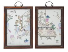 A pair of Chinese porcelain erotic plaques
