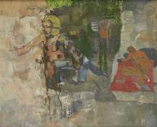 Leonard Rosoman OBE RA, British 1913-2012 - Study of a walking and recumbent figure;