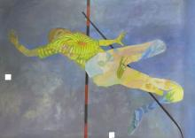 Leonard Rosoman OBE RA, British, 1913-2012 - Section from Hybrid with pole vaulter, from the artist's dining room wall, begun 1972;