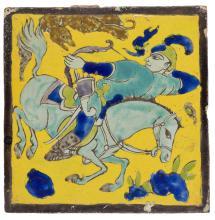 A Qajar Safavid-style pottery tile