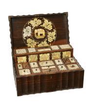 A large ivory inlaid Coromandel Coast wooden box