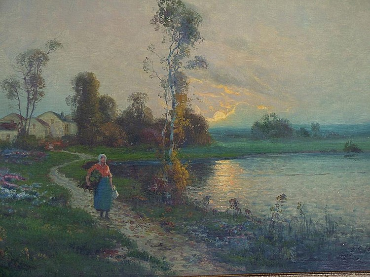 F E Martinez, act.c.1900- Figure by a lake at