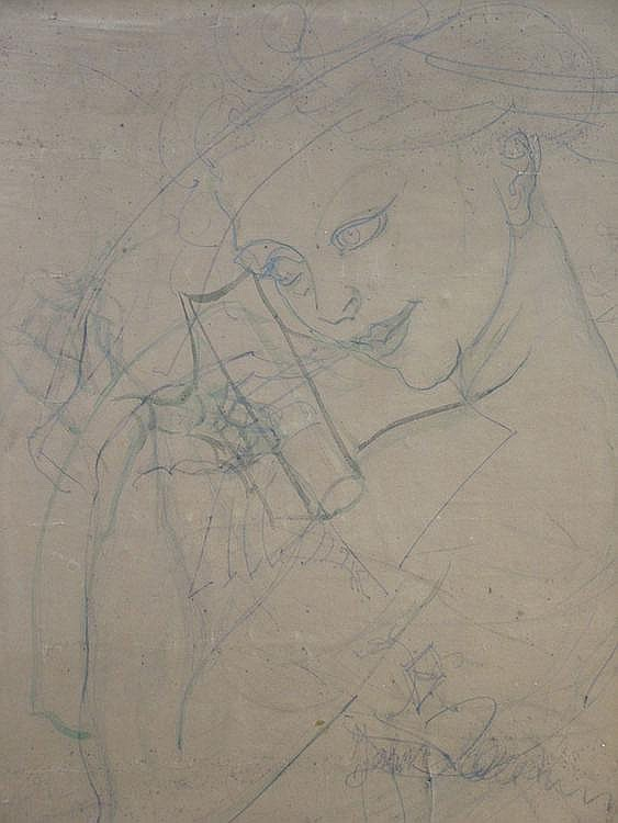 Johannes Beutner, German 1890-1960- Study of a