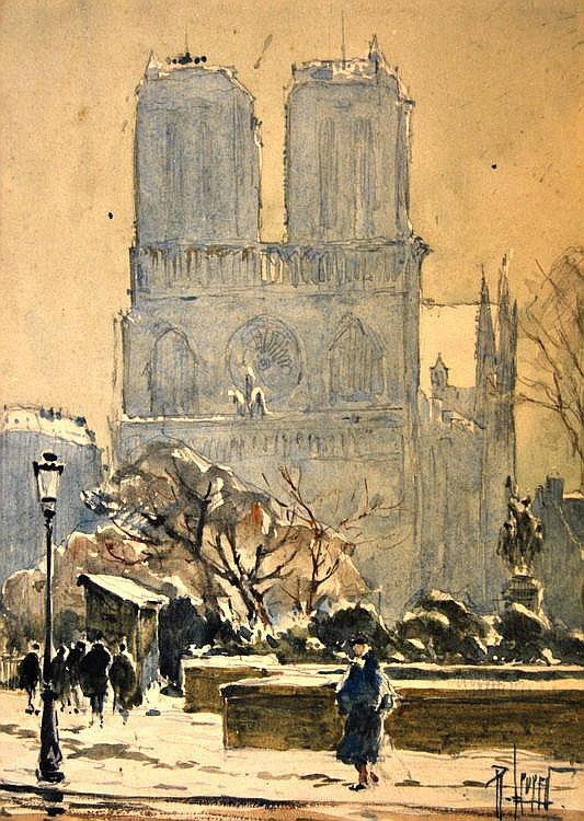 Rene Leverd, French 1872-1938- Views of Notre