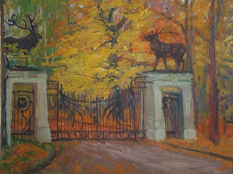 Curt Topel, German b.1885- Ornamental gates in a