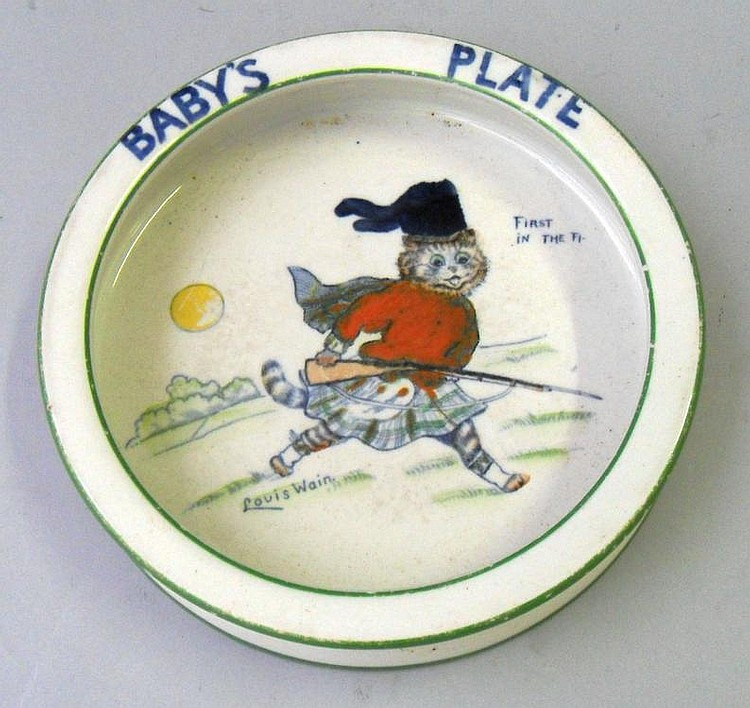 A Bridgwood pottery Louis Wain signed baby plate,