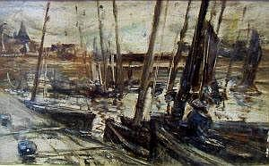 Peter Wishart ARSA 1852-1922- Moored vessels in a