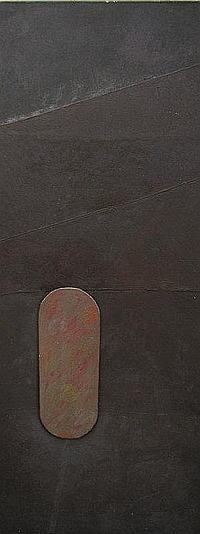 """Stephen Buckley b.1944- """"Brown Study""""; oil and"""