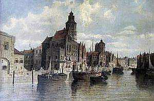 August von Siegen, German b.1850- Moored shipping