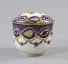 A Sevres sucrier and lid, 18th century, painted