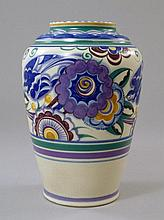 A Poole pottery vase, 20th century, painted with