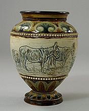 A Doulton vase by Hannah Barlow (1851-1916), the