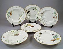 Ten Copeland porcelain botanical plates, pattern