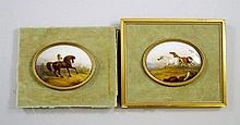 A pair of Continental oval porcelain plaques, late