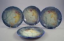 A set of six Continental majolica plates, late