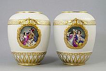 A pair of Berlin porcelain vases, late 19th