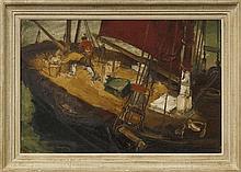 Julien Creytens, Belgian 1897-1972- Fishermen on board ship; oil on canvas,