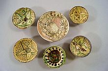 Six Islamic Bamiyan sgraffito pottery dishes,