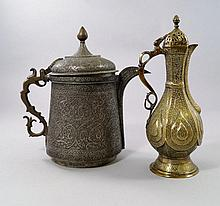 An Islamic white metal ewer, overall decorated