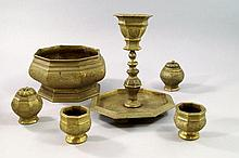 A South East Asian bronze candlestick, 19th