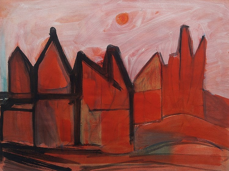 Ed Smith, British 1923-1988- ''Red Pointy Houses''