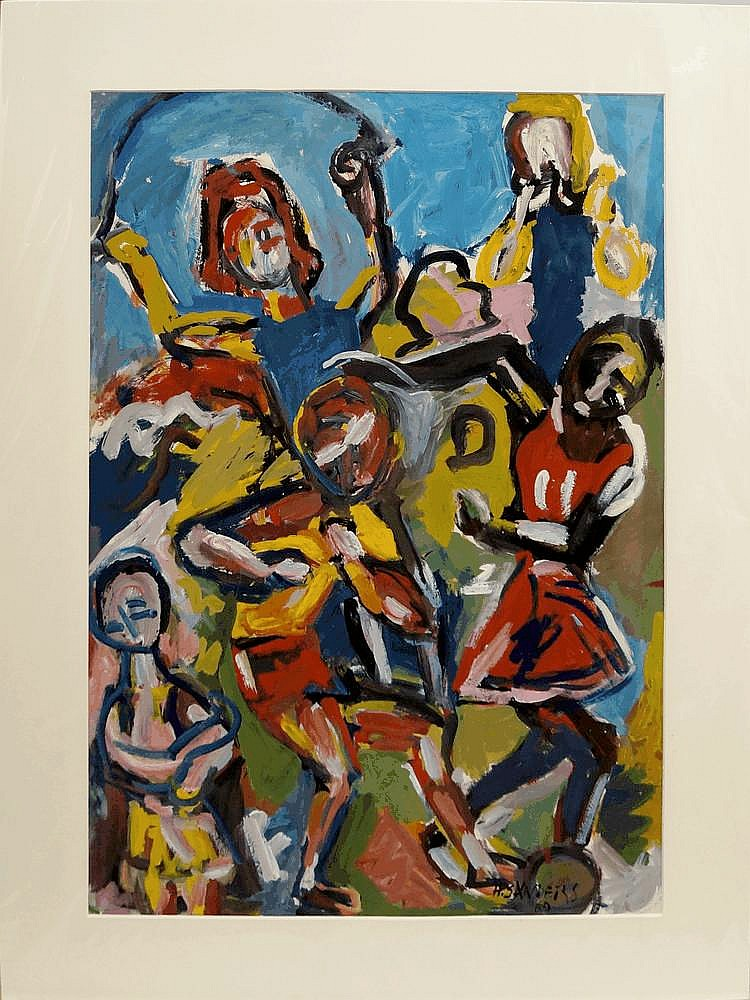 Henry Sanders, German 1918-1982- Children playing;