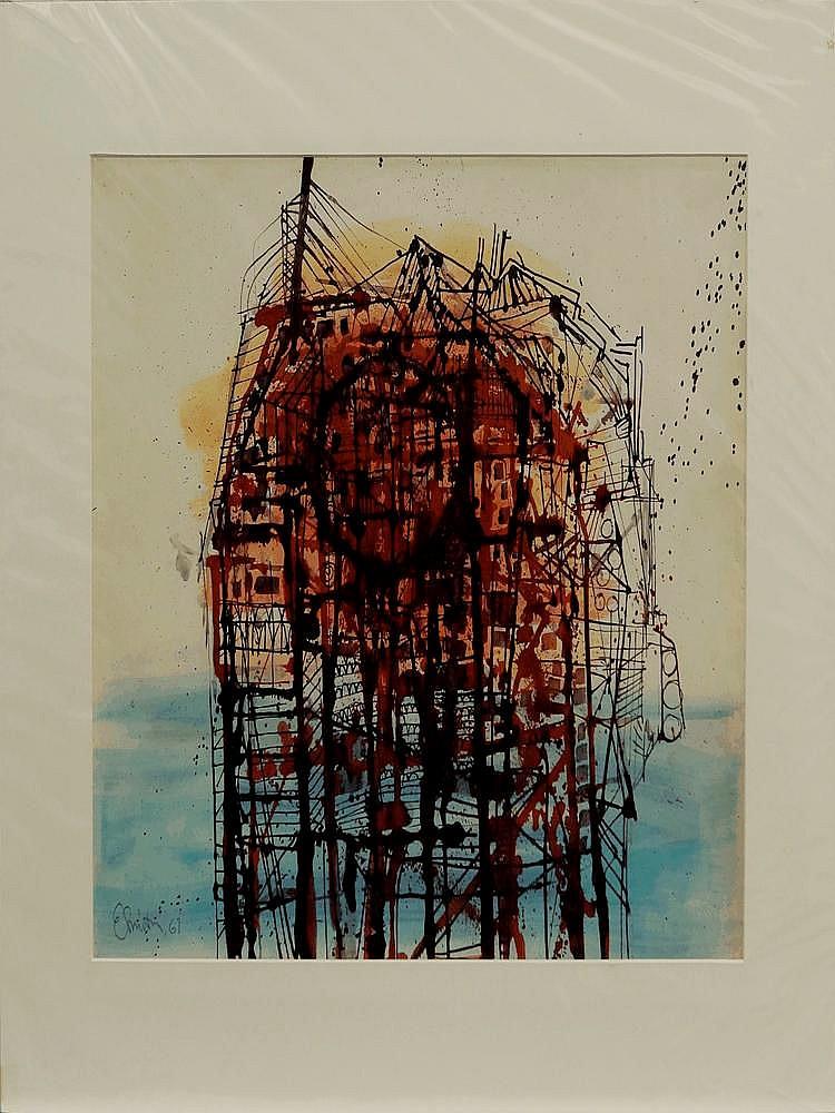 Ed Smith, British 1923-1988- 'Black Structure'; wa