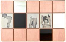 Cris Brodahl, Belgian b.1963- 'Pages', 2007; oil on canvas, wood, black