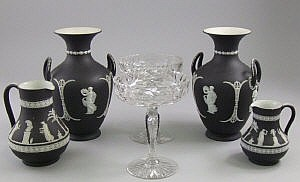 A pair of Wedgwood neo classical twin handled