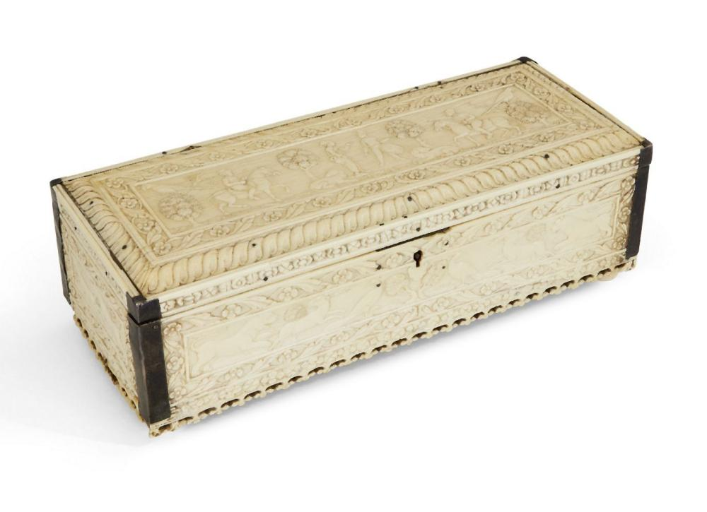 Property from an Important Private Collection A finely carved Mughal ivory