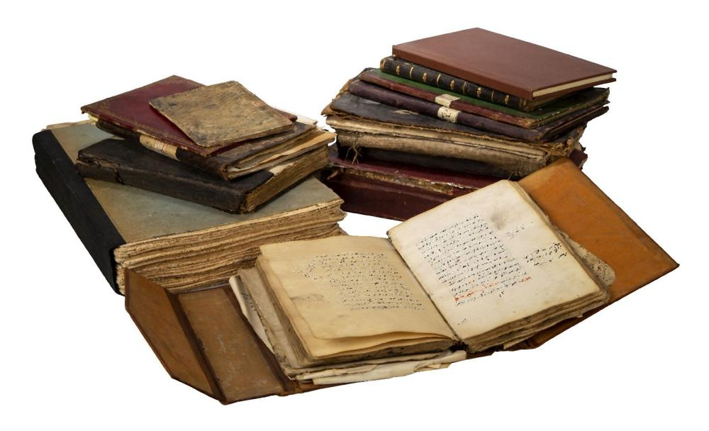 A collection of various manuscripts and binding, including several unbound