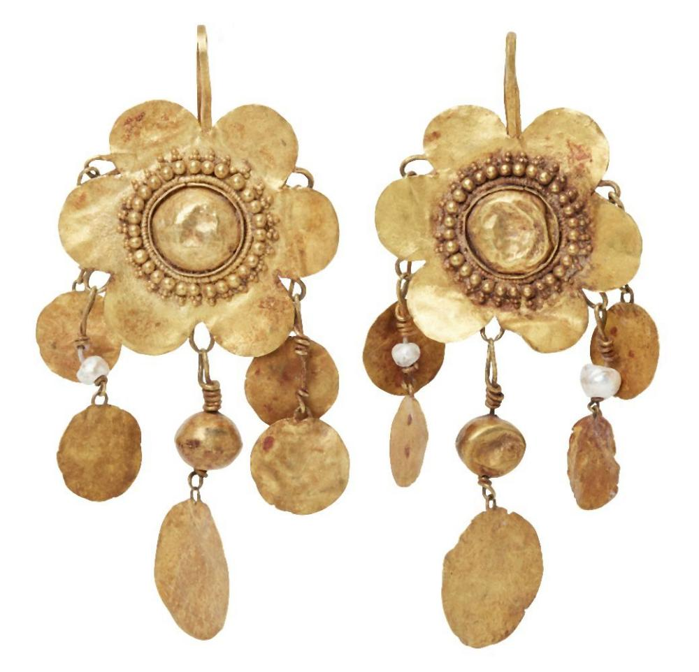 A pair of seed pearl and gold flower pendant earrings in the ancient style,