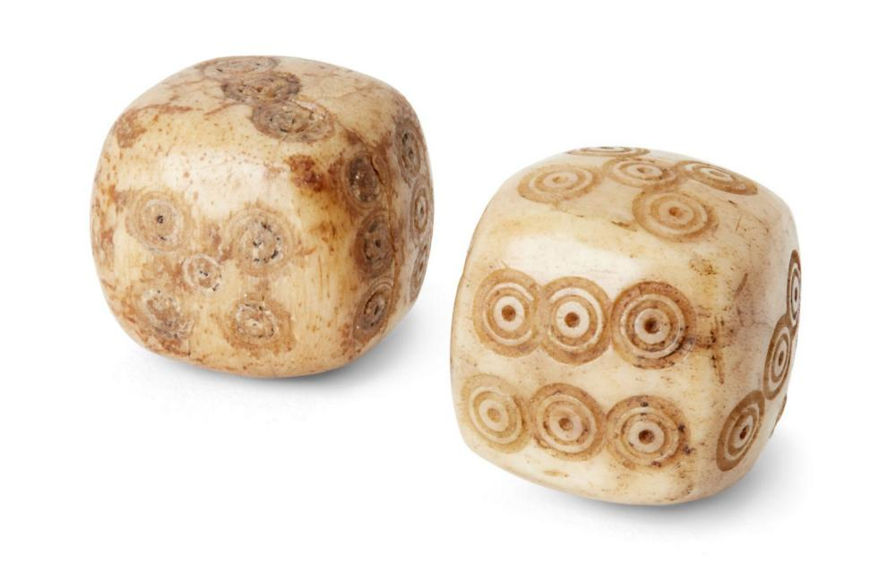 Two ivory die with concentric circles, Iran, 19th century or earlier, each
