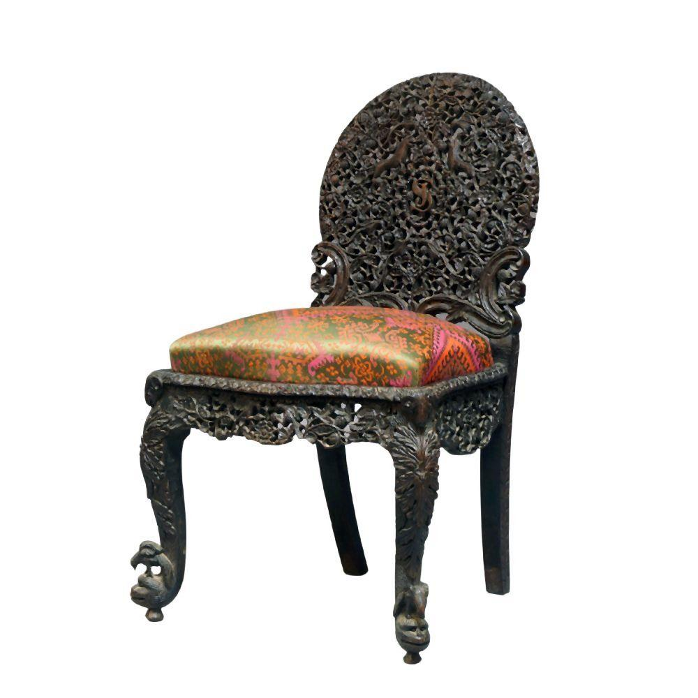 An Anglo-Indian carved wood Bombay school chair, Bombay, India, late 19th c