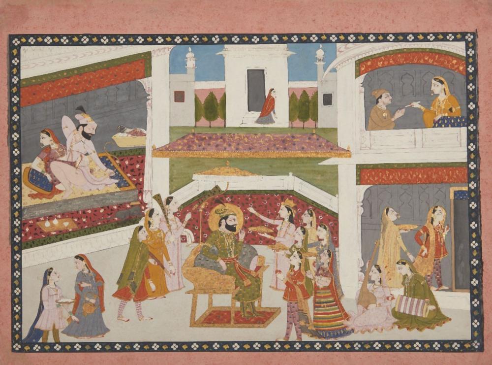 An illustration to a Hamir Hath series: 'Ala Al-Din Khilji at Court, Punjab