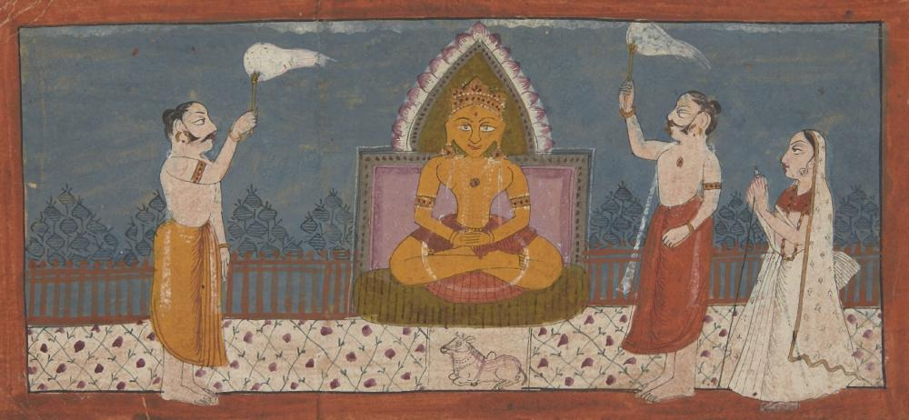 Two Jain illustrated folios, Gujarat, 15th or 16th century and Mewar, 19th