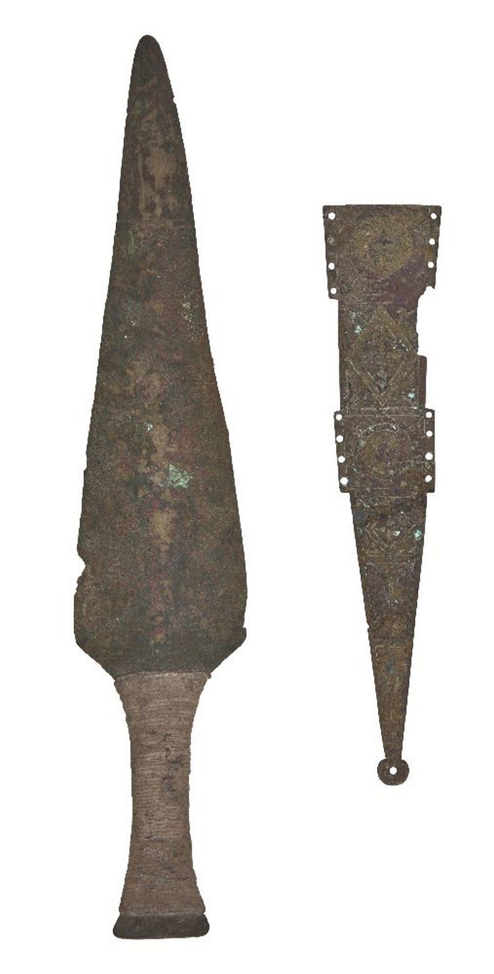 A Roman bronze dagger sheath element, circa 1st century A.D., with the prin