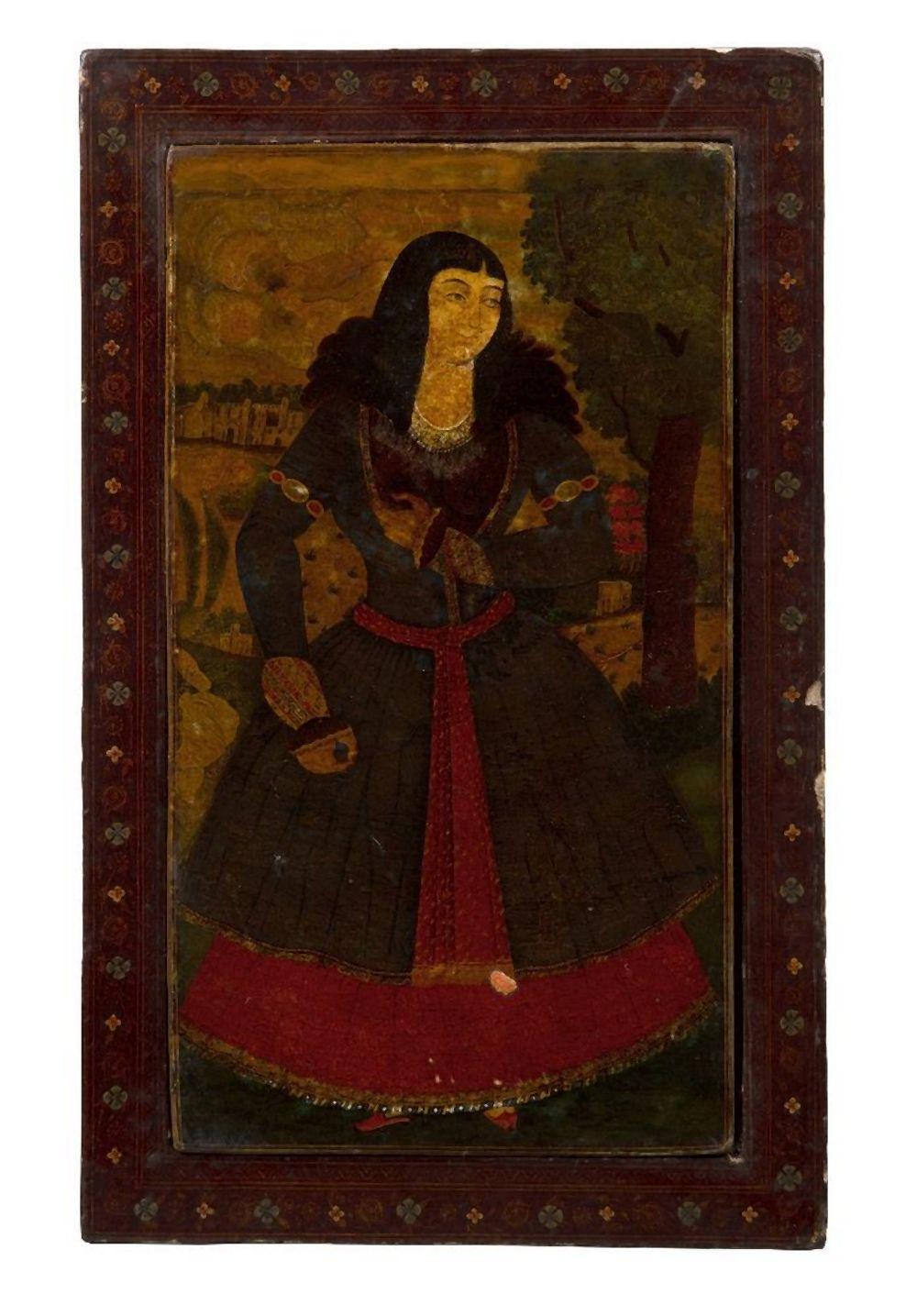 A Qajar polychrome lacquered papier mache mirror case, signed, Iran, second