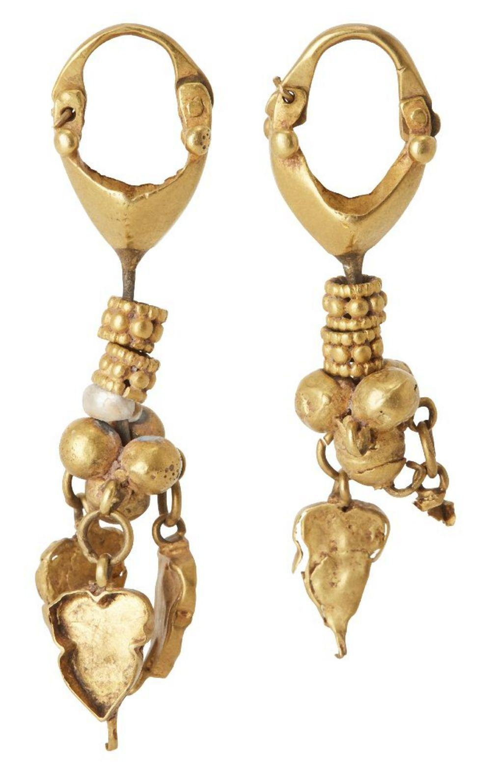A pair of seed pearl leaf and roundel gold pendant earrings in the ancient