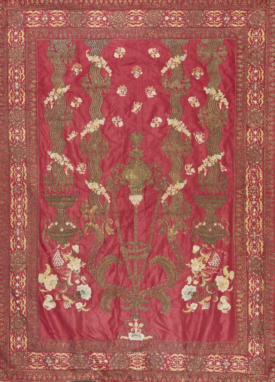 An Ottoman gilt metal thread embroidered panel, Turkey, 18th century, of re
