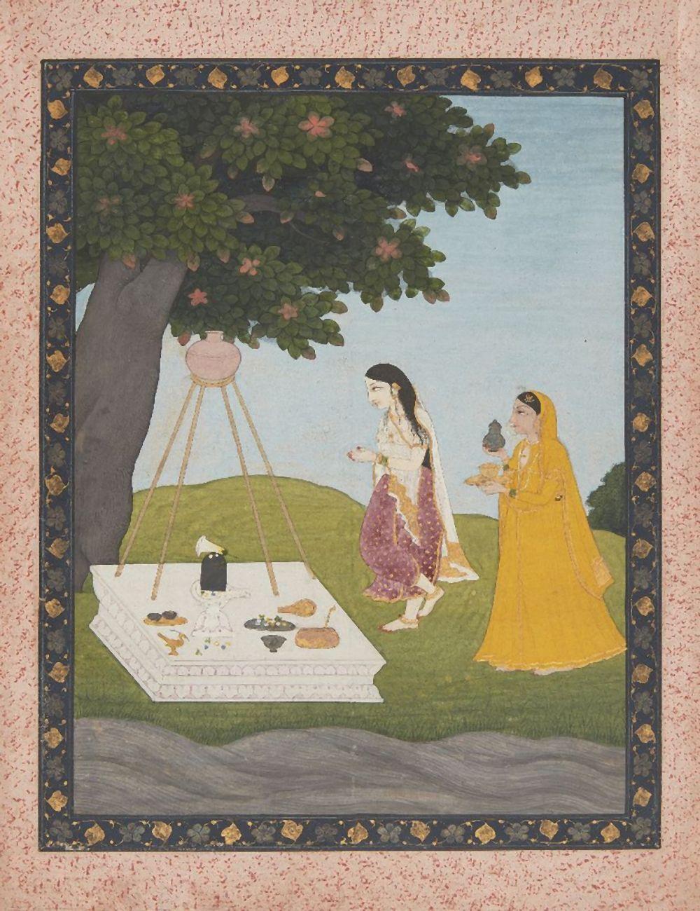 An illustration to a Ragamala series: Devagandhari Ragini or Malkos Raga, a