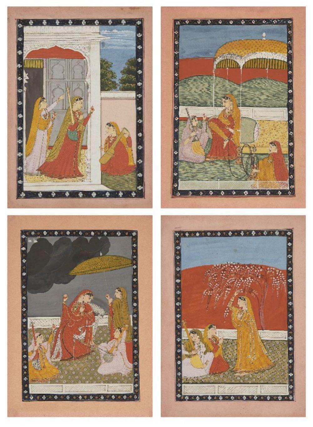 Four illustrations from a Ragamala Series: Pahari region, probably Garhwal,