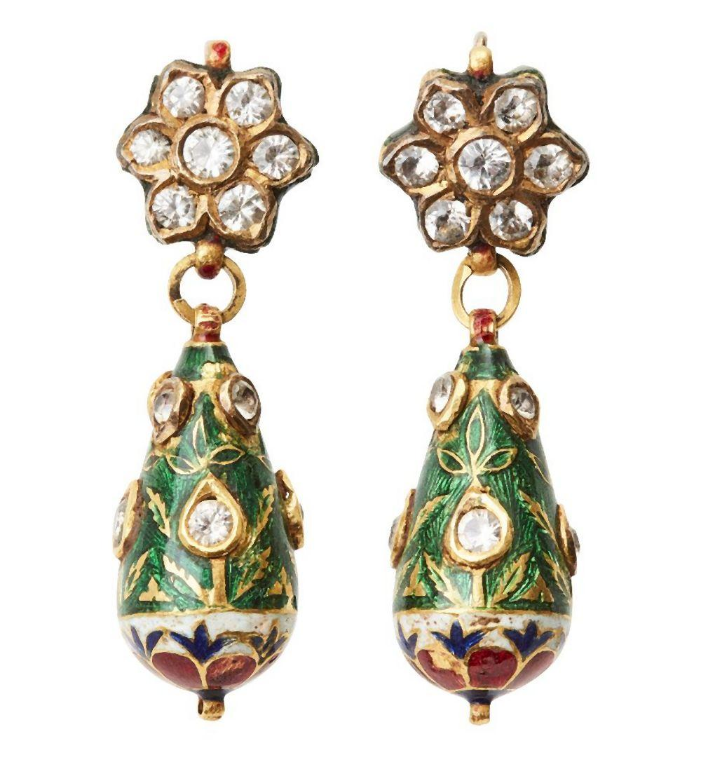 A pair of diamond set and enamelled gold earrings, India, 19th century, for