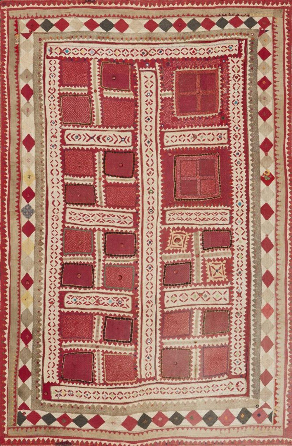 An embroidered Mukke textile panel, Thar desert, India, late 19th/early 20t